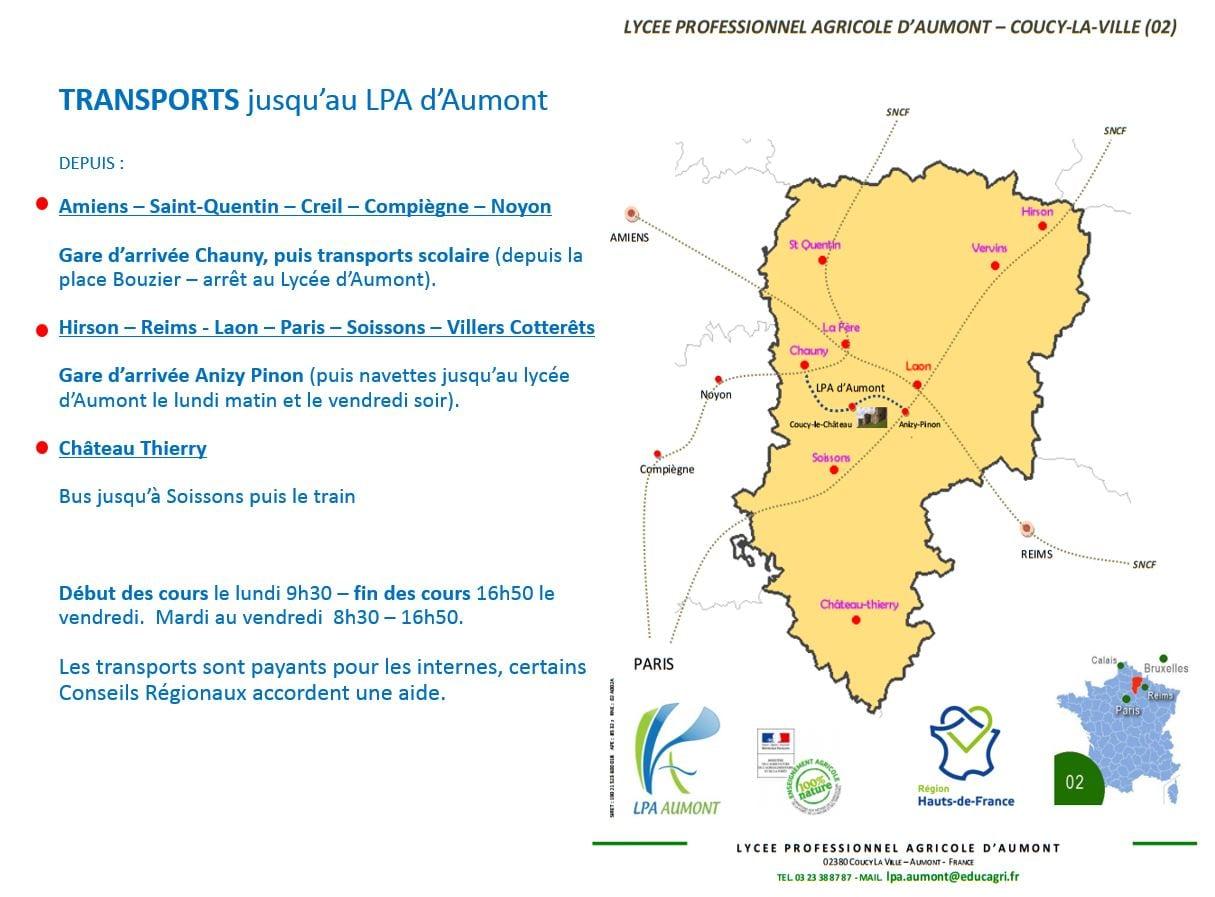 Plan d'acces du LPA Aumont