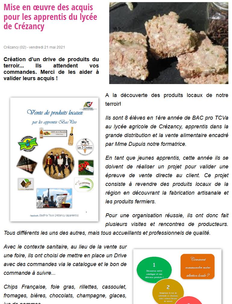 Mise en œuvre des acquis pour les apprentis du lycée de Crézancy